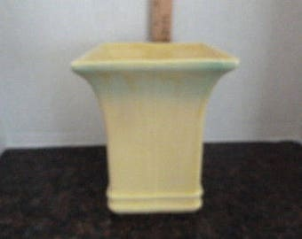 Vintage Ceramic Yellow Vase-Tall-fade to green on top