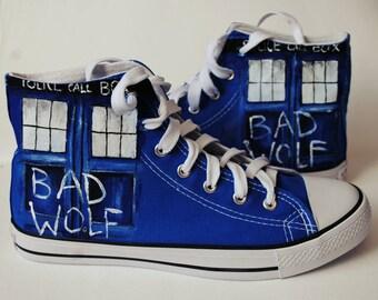 Personalized handpainted Tardis shoes, Bad Wolf custom snekers, custom shoes