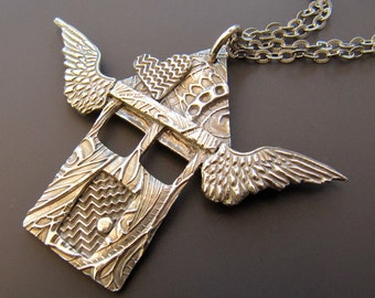 The House That Love Built Fine Silver and Sterling Silver Pendant Necklace with Heart and Wings