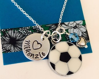 Soccer Necklace, Stamped Soccer Necklace, Soccer Girl Necklace, Soccer Team, Girls Soccer Necklace , Personalized Soccer Jewelry