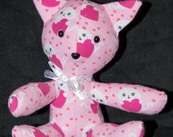 Stuffed Kitten - Pink Hearts