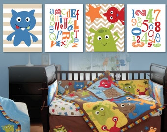 Baby Boy Nursery Print Art - Monster Nursery - Monster Nursery Art - Monster Nursery Print - Monster Nursery Decor - Red Blue Green (NS-542)