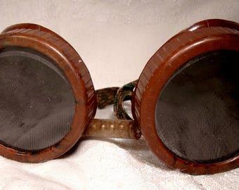 Bakelite Art Deco Welding Goggles with Glass Lenses 1930s