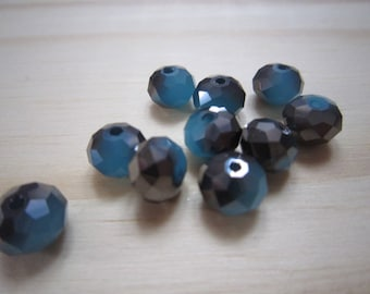 Turquoise beads and grey metallic faceted glass - set of 10