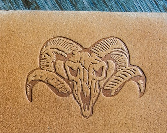 """Delrin Leather Skull with horns stamp 5cm x 3,5cm (1,97"""" x 1,37"""")"""