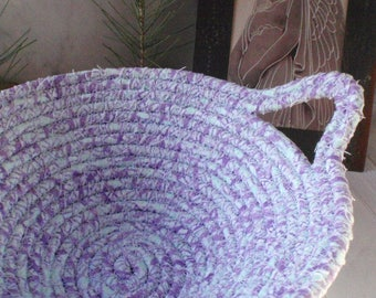 Soft Blue and Raspberry Coiled Fabric Basket - Catchall, Organizer, Handmade by Me, Pastel Colors