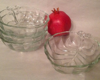 set of 4 stacking clear cut glass candy nut dish bowl catchall in fruit shape with stem