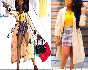Custom Fashion Illustration, Fashion Drawing, Gifts, Gifts for her, Graduation, Prom, PinalesIllustrated