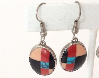 Oval Multi Stone Inlay Dangle Earrings 925 Sterling Silver gw16-221