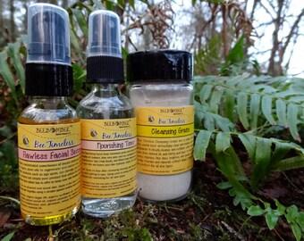 Organic Facial Care Set: Cleansing Grains, Facial Toner, and Facial Serum with Argan oil