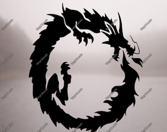 Dragon Vinyl Decal - Dragon Decal - Dragon Art - Dragon Laptop Decal - Dragon Wall Art - Dragon Car Decal - Dragon Vinyl - Tribal Dragon