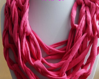 Cotton necklace,T shirt necklace,Bib necklace, Fabric necklace, textile  necklace, pink necklace,red necklace,twisted hnotted,chain