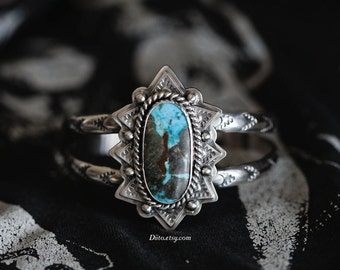 Size 6 Sterling Silver Turquoise Mountain Cuff Bracelet, Chunky, Stamped Cuff, Southwestern Cuff, Native American Inspired, Ready To Ship!