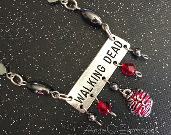 I Love the Walking Dead Zombie Brain Necklace with Hematite OOAK