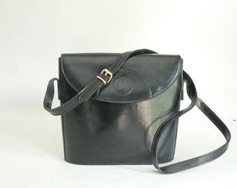 Small Black Leather Shoulder Bag Made in Italy