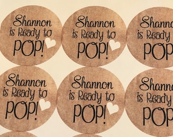 Ready To Pop Stickers. Custom Stickers. Sticker Label. Baby Shower. Baby Shower Stickers. Ready to Pop. Ready to Pop baby shower. 20 STICKER