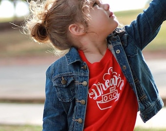 DREAM BOAT - Red & White Kid's Graphic Tee Shirt - Size 6 - Hand drawn Lettering - Dear Seed - DearSeed - Sailor - Tug Boat -
