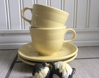 Pale Yellow Fiesta Teacups and Saucers, Fiesta Ware, Homer Laughlin China Co, Coffee Cup, Retired Fiesta Ware, Sale