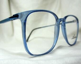 Vintage 80s Oversized  Eyeglass Frames. Large Blue Glasses