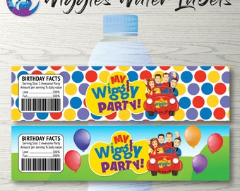 Wiggles Water Bottle Labels, Wiggles Party Decoration, Wiggles Birthday Party Printable, Wiggles Water Labels, Wiggles Labels, Wiggles Party