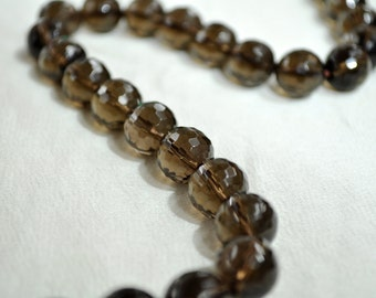 8 mm Faceted Smoky Quartz Beads
