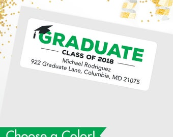 CHOOSE A COLOR - Graduation Address Labels / Class of 2018 Address Labels - Glossy Finish - Sheet of 30