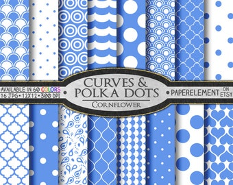 Cornflower Blue Polka Dot Digital Paper: Blue Digital Polka Dot Background - Polka Dot Scrapbook Papers with Printable Blue Wave Backdrops
