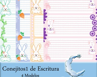 Triple Conejitos1 of writing. Note Sheets. Digital paper. Notebook pages