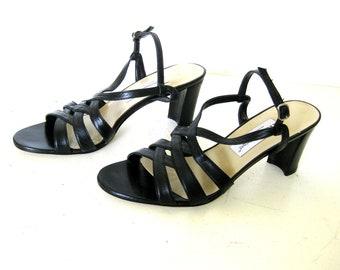 Etienne Aigner Black Leather Pumps, Strappy Peep Toe Ankle Sandal Heels, 10