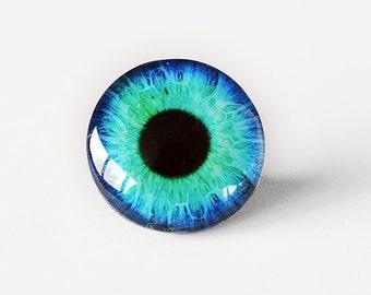 25mm handmade glass eye cabochon - aqua eye - standard profile