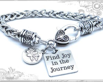 Find Joy in the Journey Bracelet, Lotus Flower Bracelet, Gift for Her, Inspirational Bracelet