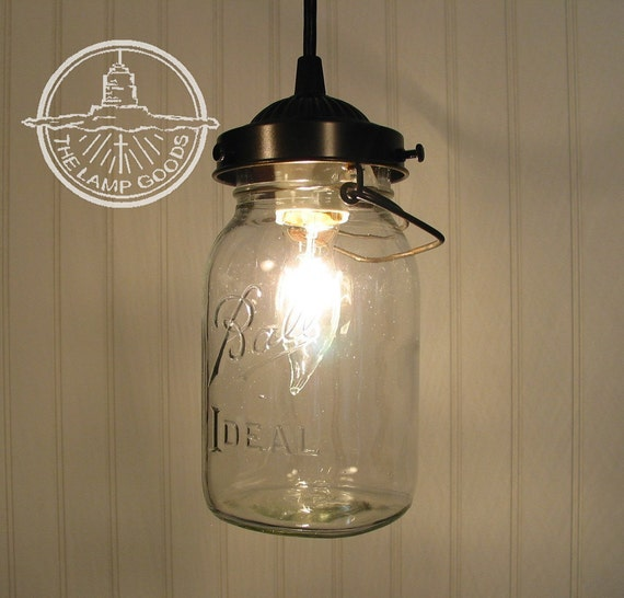 Pendant Lighting By Rustic State Authentic Vintage Lights: Mason Jar PENDANT Light With Vintage Quart Jar Farmhouse