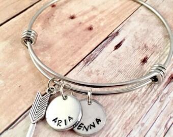 Mothers Bracelet, Name bracelet, Arrow bangle bracelet,  Personalized Jewelry, Adjustable bangle bracelet, My Tribe bracelet, Mothers Day