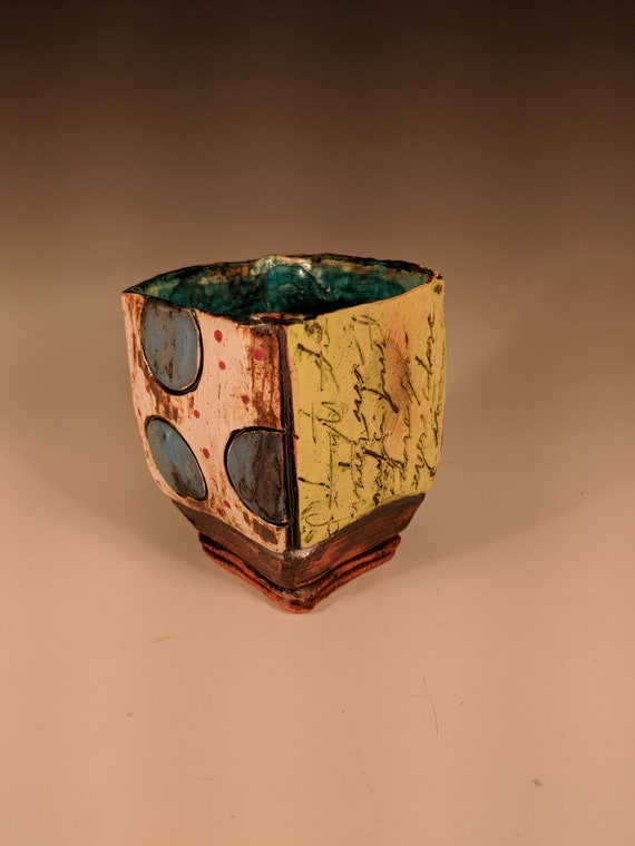 Handmade Ceramic Tea Bowls, Story Cups - Polka Dots