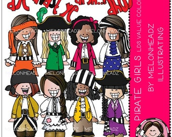 Pirate clip art - Girls - COMBO PACK - LDS value colors