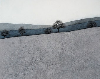 Intermission 4 - Archival 8x8 Art Print - Contemporary Minimalist Winter Landscape Painting - Grey, Blue - by Natasha Newton