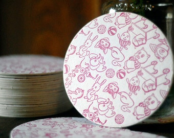 Rosy Red Baby Playthings Letterpress Coaster Set of 20 Baby Shower Decorations Gifts Favors
