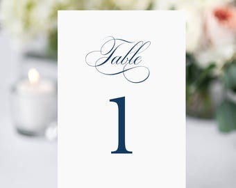 Table Numbers, Nautical Table Numbers, Wedding Table Numbers, Navy and White Table Number