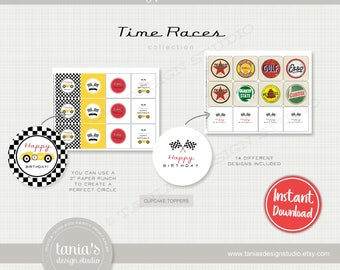 Race - Time Races - Printable Cupcake Toppers and Wrappers - Instant Download - Time Race Birthday Collection by Tania's Design Studio