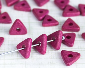 25%OFF SALE - Mykonos Greek Beads, 24 Radiant Orchid , 10mm Triangle Ceramic Washer --More for Less-- Sewing knitting jewelry supplies DIY