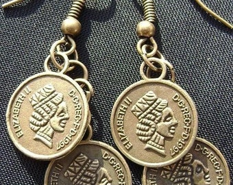 Antique Brass Coin Drop Earrings