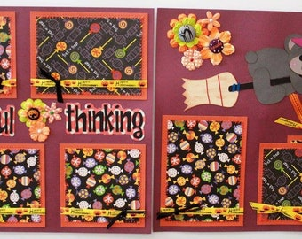 Hand Made Paper Pieced Premade Scrapbook Pages 12 x 12 Two page