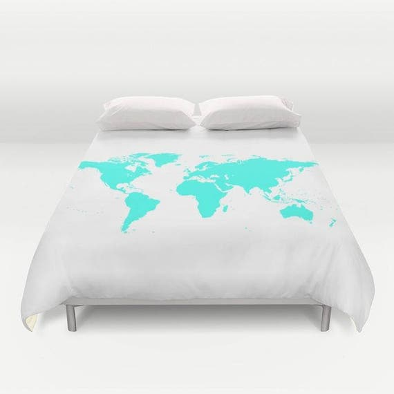World map duvet cover decorative bedding world map bedding world map duvet cover decorative bedding world map bedding bedroom blanket white blue bedding modern aqua blue dorm geography trend gumiabroncs Gallery