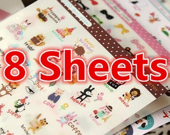 8 Sheets, Cute Sticker, Deco Sticker, Korean Sticker, Kitty Sticker, Scrapbook, Cat Sticker, Giraffe Sticker