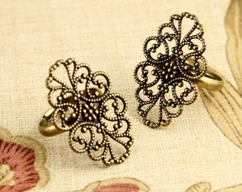 5pcs  Antique Bronze Filigree Ring ,Brass Adjustable Rings With 20x32mm Filigree  Pad RB017a