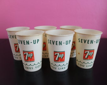 Vintage Soda Cups, 6 Seven-Up Cups, 7-Up Dixie Cups, 7-Up Waxed Cups, Soda Fountain Cups, Unused 7Up Cups, NOS Paper Cups, Retro Wax Cups