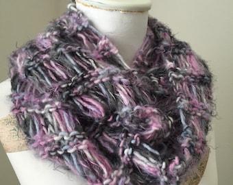 Fuzzy Infinity Cowl, Open Knit Loop Scarf, Cozy Knit Cowl, Snuggly Winter Neckwarmer