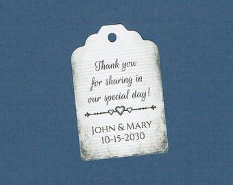 Wedding Tags, Set of 50, Thank You Tags, Printed Tags, Wedding Shower Tags, Tags, Wedding Favor, Thank You Tag