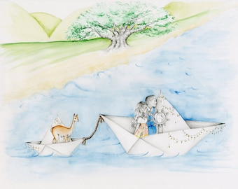 Whimsical Scene One of a Kind Personalized Gift for Couples Hand Drawn Work of Art Fine Art for Couples Personalized Artwork Portraits