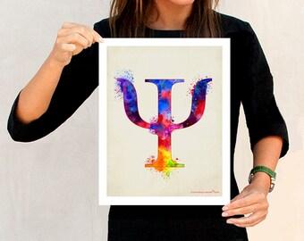 "Psychology print,""Greek alphabet Watercolor PSI"",11"" x 14"",Neurologist Gift,Psychologist gift,Psychiatrist gift,Discipline Psychology symbol"